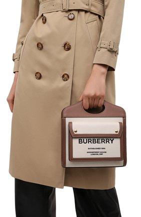 Женская сумка pocket bag mini BURBERRY бежевого цвета, арт. 8039361 | Фото 2 (Сумки-технические: Сумки через плечо, Сумки top-handle; Размер: mini; Ремень/цепочка: На ремешке)
