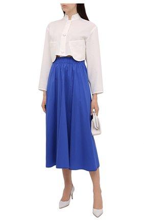 Женская хлопковая юбка PIETRO BRUNELLI синего цвета, арт. G0W219/C0P319   Фото 2