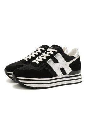 Женские комбинированные кроссовки h483 HOGAN черно-белого цвета, арт. HXW4830CB81PFH   Фото 1