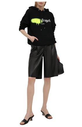 Женский хлопковое худи PALM ANGELS черного цвета, арт. PWBB023S21FLE0071065   Фото 2