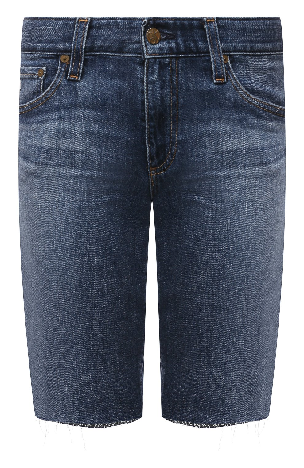 Женские джинсовые шорты AG синего цвета, арт. DAS1604RH/11YRGW/MX | Фото 1 (Женское Кросс-КТ: Шорты-одежда; Кросс-КТ: Деним; Материал внешний: Хлопок, Деним; Длина Ж (юбки, платья, шорты): До колена; Стили: Кэжуэл)