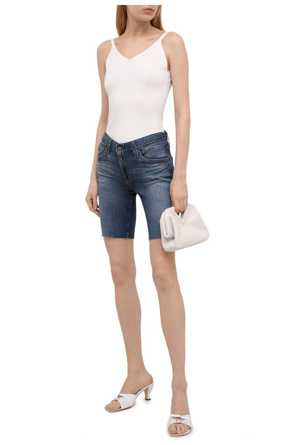Женские джинсовые шорты AG синего цвета, арт. DAS1604RH/11YRGW/MX | Фото 2 (Женское Кросс-КТ: Шорты-одежда; Кросс-КТ: Деним; Материал внешний: Хлопок, Деним; Длина Ж (юбки, платья, шорты): До колена; Стили: Кэжуэл)