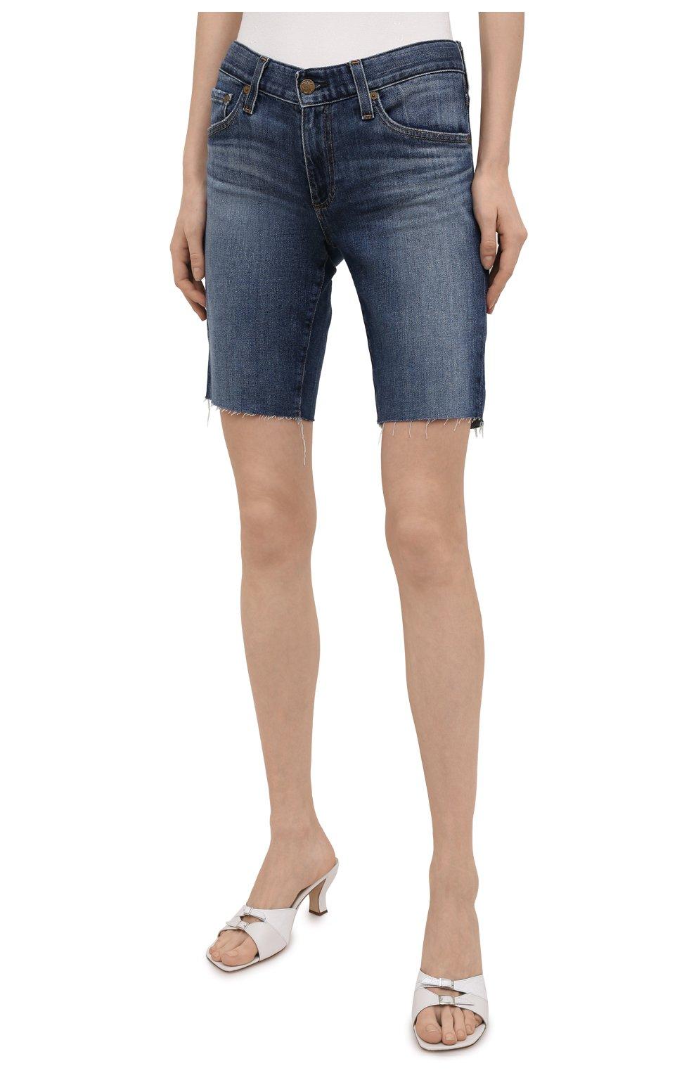 Женские джинсовые шорты AG синего цвета, арт. DAS1604RH/11YRGW/MX | Фото 3 (Женское Кросс-КТ: Шорты-одежда; Кросс-КТ: Деним; Материал внешний: Хлопок, Деним; Длина Ж (юбки, платья, шорты): До колена; Стили: Кэжуэл)