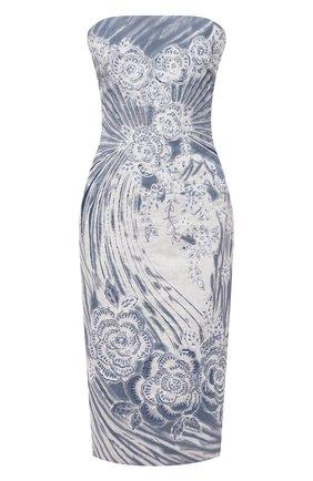 Женское льняное платье RALPH LAUREN голубого цвета, арт. 290840176 | Фото 1 (Женское Кросс-КТ: Платье-одежда; Случай: Коктейльный; Материал внешний: Лен; Материал подклада: Купро; Стили: Романтичный; Длина Ж (юбки, платья, шорты): До колена)