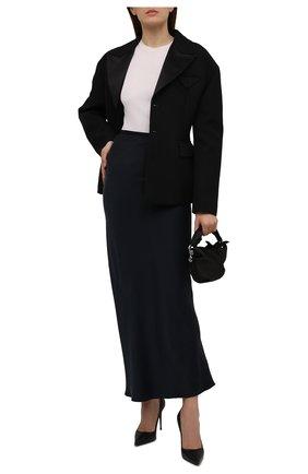Женская шелковая юбка GIORGIO ARMANI темно-синего цвета, арт. 1WHNN051/T02MU   Фото 2