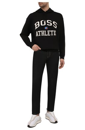 Мужской хлопковое худи boss x russell athletic BOSS черного цвета, арт. 50455955 | Фото 2