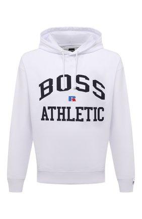 Мужской хлопковое худи boss x russell athletic BOSS белого цвета, арт. 50455955   Фото 1