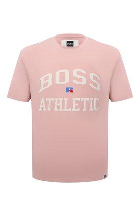 Мужская хлопковая футболка boss x russell athletic BOSS розового цвета, арт. 50457336 | Фото 1