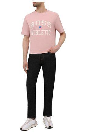 Мужская хлопковая футболка boss x russell athletic BOSS розового цвета, арт. 50457336 | Фото 2