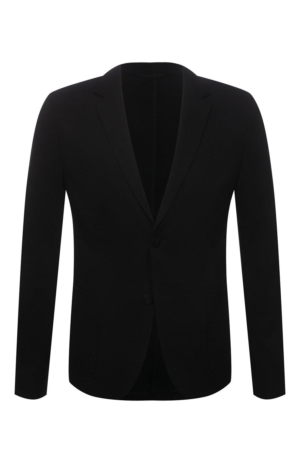 Мужской пиджак HUGO черного цвета, арт. 50454551   Фото 1 (Рукава: Длинные; Случай: Повседневный; Материал внешний: Синтетический материал, Вискоза; Длина (для топов): Стандартные; Пиджаки М: Прямой)