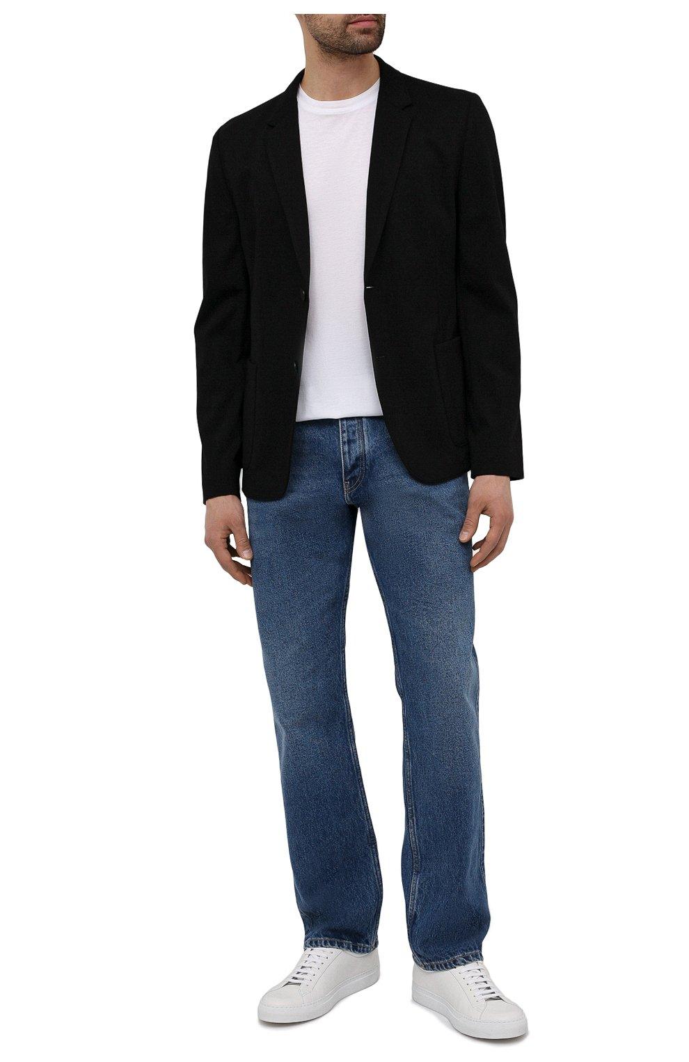 Мужской пиджак HUGO черного цвета, арт. 50454551   Фото 2 (Рукава: Длинные; Случай: Повседневный; Материал внешний: Синтетический материал, Вискоза; Длина (для топов): Стандартные; Пиджаки М: Прямой)