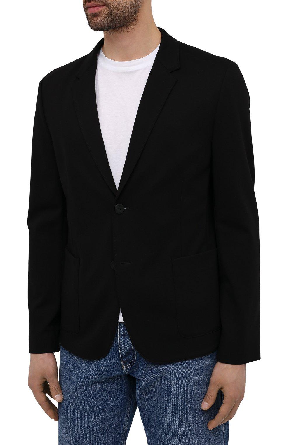 Мужской пиджак HUGO черного цвета, арт. 50454551   Фото 3 (Рукава: Длинные; Случай: Повседневный; Материал внешний: Синтетический материал, Вискоза; Длина (для топов): Стандартные; Пиджаки М: Прямой)
