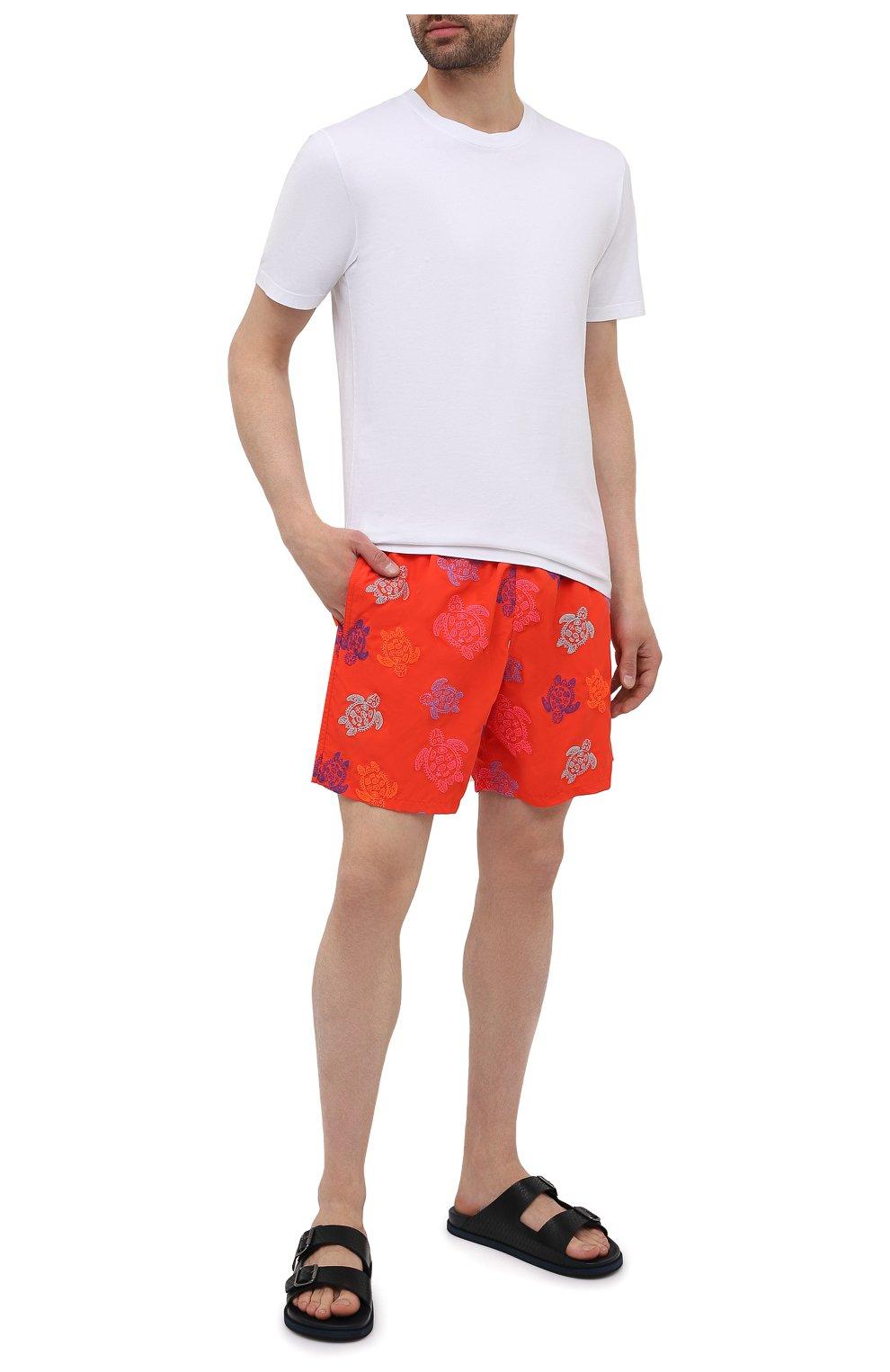 Мужские плавки-шорты VILEBREQUIN красного цвета, арт. MISH0C36/193 | Фото 2 (Материал внешний: Синтетический материал; Принт: С принтом; Мужское Кросс-КТ: плавки-шорты)