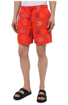 Мужские плавки-шорты VILEBREQUIN красного цвета, арт. MISH0C36/193 | Фото 3 (Материал внешний: Синтетический материал; Принт: С принтом; Мужское Кросс-КТ: плавки-шорты)