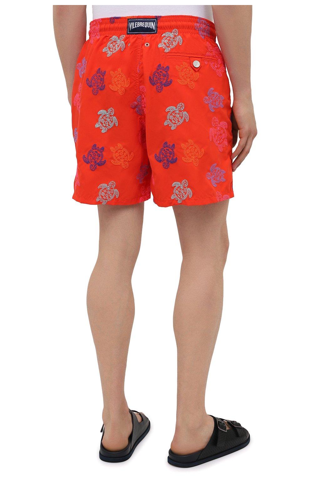 Мужские плавки-шорты VILEBREQUIN красного цвета, арт. MISH0C36/193 | Фото 4 (Материал внешний: Синтетический материал; Принт: С принтом; Мужское Кросс-КТ: плавки-шорты)