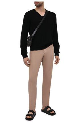 Мужские кожаные шлепанцы BOSS черного цвета, арт. 50455269 | Фото 2
