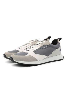Мужские комбинированные кроссовки HUGO серого цвета, арт. 50451740 | Фото 1