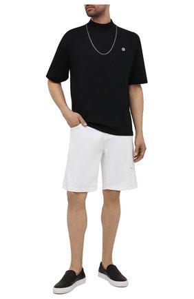 Мужские кожаные слипоны KENZO черного цвета, арт. FB55SN100L73 | Фото 2 (Материал внутренний: Натуральная кожа, Текстиль; Стили: Кэжуэл)