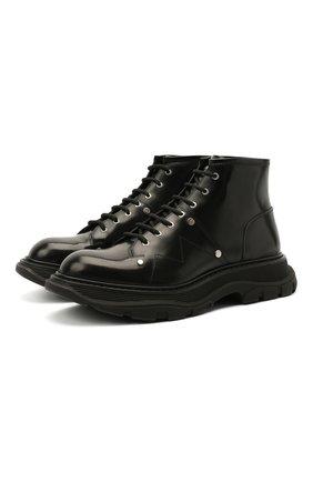 Мужские кожаные ботинки ALEXANDER MCQUEEN черного цвета, арт. 604253/WHZ80 | Фото 1