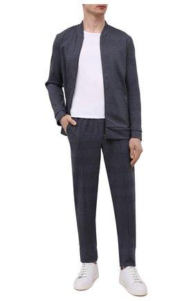Мужские хлопковые брюки HANRO темно-синего цвета, арт. 075164 | Фото 2 (Кросс-КТ: Спорт; Стили: Спорт-шик; Длина (брюки, джинсы): Стандартные; Случай: Повседневный; Материал внешний: Хлопок; Мужское Кросс-КТ: Брюки-трикотаж)