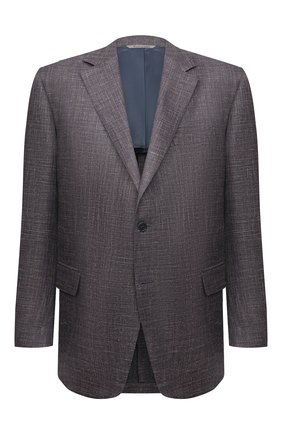 Мужской пиджак из шерсти и шелка CANALI коричневого цвета, арт. 21280/CU00383   Фото 1 (Материал внешний: Шерсть; Рукава: Длинные; Материал подклада: Купро; Длина (для топов): Стандартные; Пиджаки М: Прямой; Случай: Повседневный; 1-2-бортные: Однобортные)