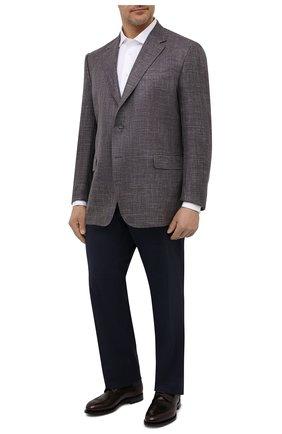 Мужской пиджак из шерсти и шелка CANALI коричневого цвета, арт. 21280/CU00383   Фото 2 (Материал внешний: Шерсть; Рукава: Длинные; Материал подклада: Купро; Длина (для топов): Стандартные; Пиджаки М: Прямой; Случай: Повседневный; 1-2-бортные: Однобортные)
