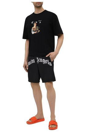 Мужские шорты PALM ANGELS черного цвета, арт. PMFA005S21FAB0011001 | Фото 2