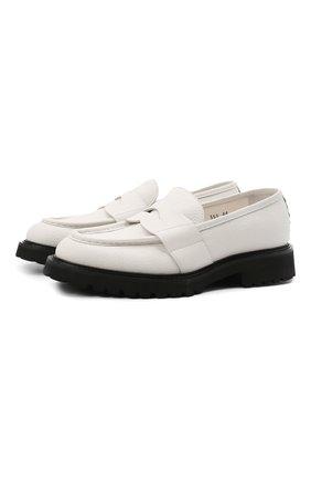 Мужские кожаные пенни-лоферы ATTIMONELLI'S белого цвета, арт. AA559V | Фото 1