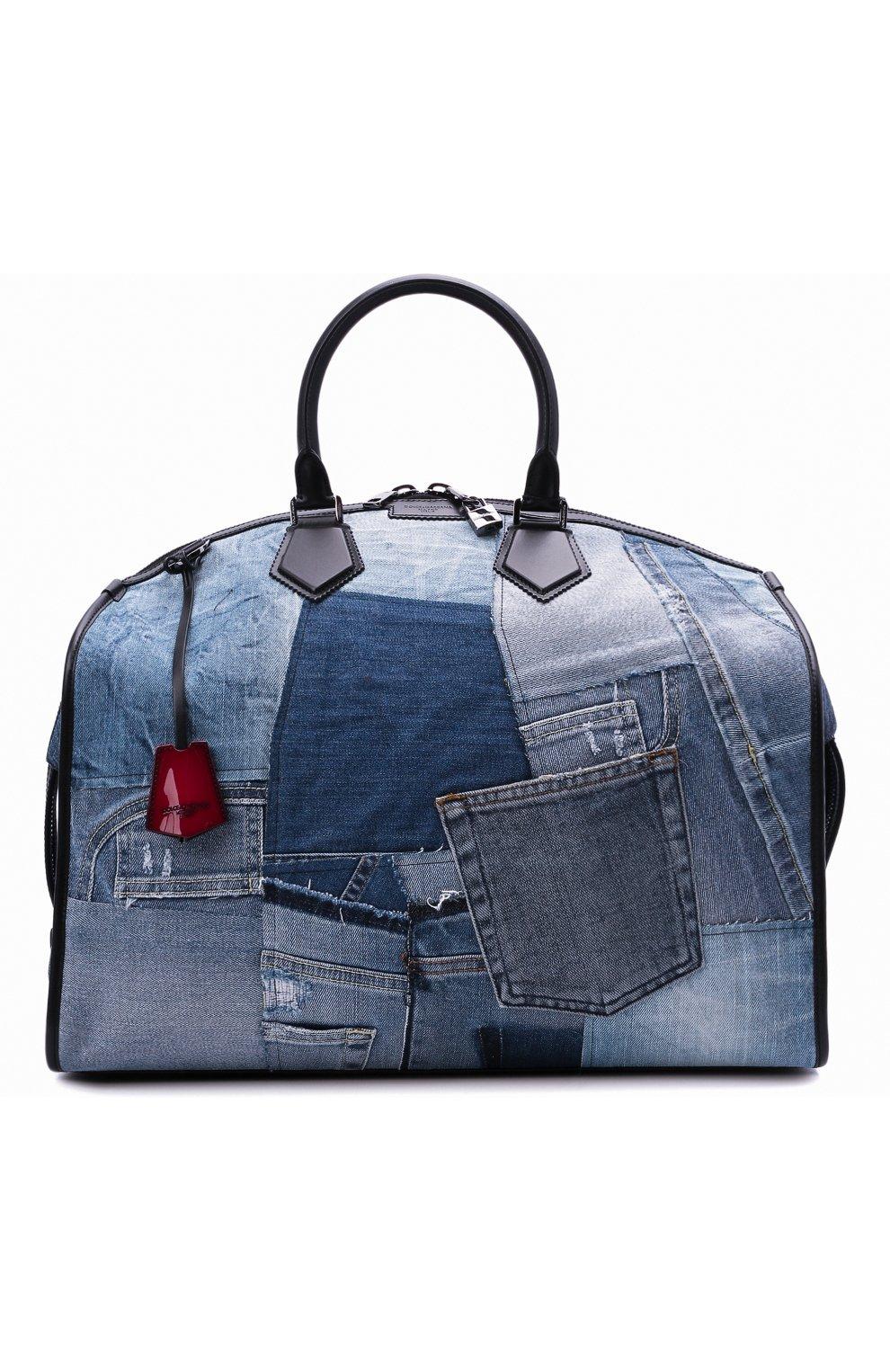 Мужская текстильная дорожная сумка edge DOLCE & GABBANA синего цвета, арт. BM1789/AW347 | Фото 7