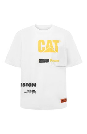 Мужская хлопковая футболка heron preston x cat HERON PRESTON белого цвета, арт. HMAA028S21JER0010118 | Фото 1 (Рукава: Короткие; Принт: С принтом; Стили: Гранж; Материал внешний: Хлопок; Длина (для топов): Стандартные)