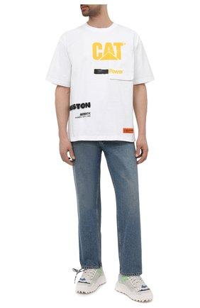 Мужская хлопковая футболка heron preston x cat HERON PRESTON белого цвета, арт. HMAA028S21JER0010118 | Фото 2 (Рукава: Короткие; Принт: С принтом; Стили: Гранж; Материал внешний: Хлопок; Длина (для топов): Стандартные)