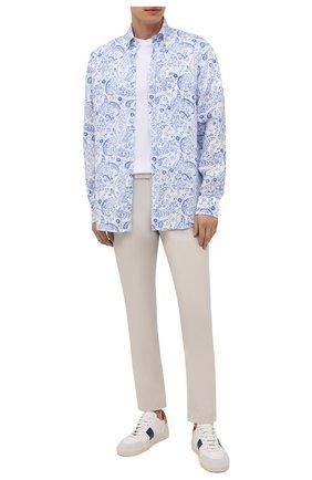 Мужская льняная рубашка PAUL&SHARK голубого цвета, арт. 21413426/F7E | Фото 2