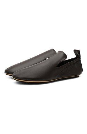 Мужские кожаные слиперы lattice BOTTEGA VENETA темно-коричневого цвета, арт. 658771/VBSD0 | Фото 1 (Стили: Кэжуэл; Материал внутренний: Натуральная кожа)