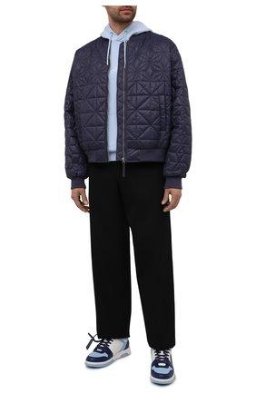 Мужские кожаные кеды out of office OFF-WHITE голубого цвета, арт. 0MIA189S21LEA0014045 | Фото 2 (Подошва: Массивная; Материал внутренний: Текстиль)