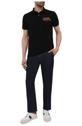 Мужское хлопковое поло POLO RALPH LAUREN черного цвета, арт. 710814437 | Фото 2