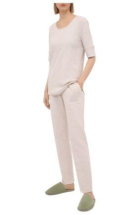 Женские хлопковые брюки EVA B.BITZER бежевого цвета, арт. 11322968   Фото 2