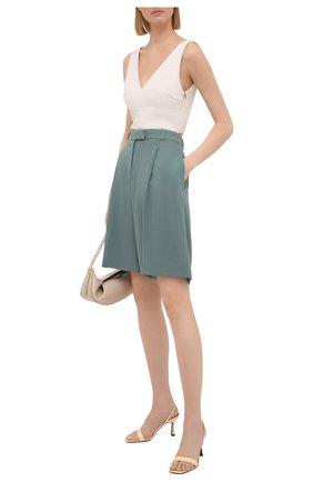 Женские шерстяные шорты BOSS бирюзового цвета, арт. 50453518 | Фото 2
