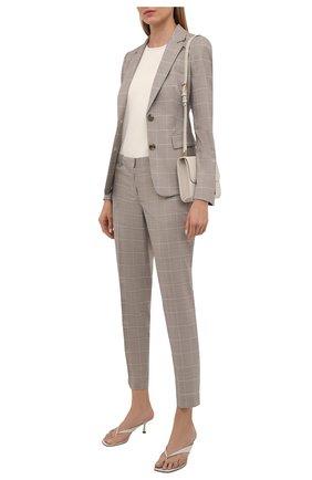 Женские шерстяные брюки BOSS бежевого цвета, арт. 50454292 | Фото 2