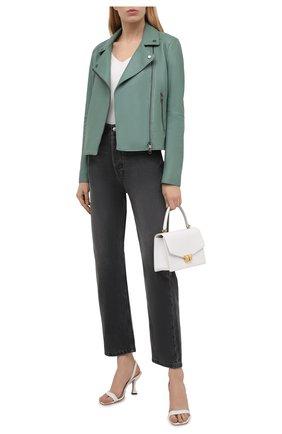 Женская кожаная куртка BOSS зеленого цвета, арт. 50447154 | Фото 2