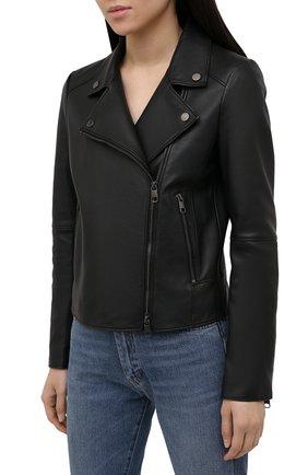 Женская кожаная куртка BOSS черного цвета, арт. 50447154 | Фото 2