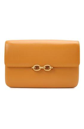 Женская сумка maillon SAINT LAURENT желтого цвета, арт. 649795/2R20W | Фото 1 (Сумки-технические: Сумки через плечо; Материал: Натуральная кожа; Ремень/цепочка: На ремешке; Размер: small)