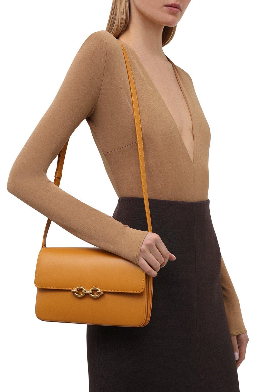 Женская сумка maillon SAINT LAURENT желтого цвета, арт. 649795/2R20W | Фото 2 (Сумки-технические: Сумки через плечо; Материал: Натуральная кожа; Ремень/цепочка: На ремешке; Размер: small)
