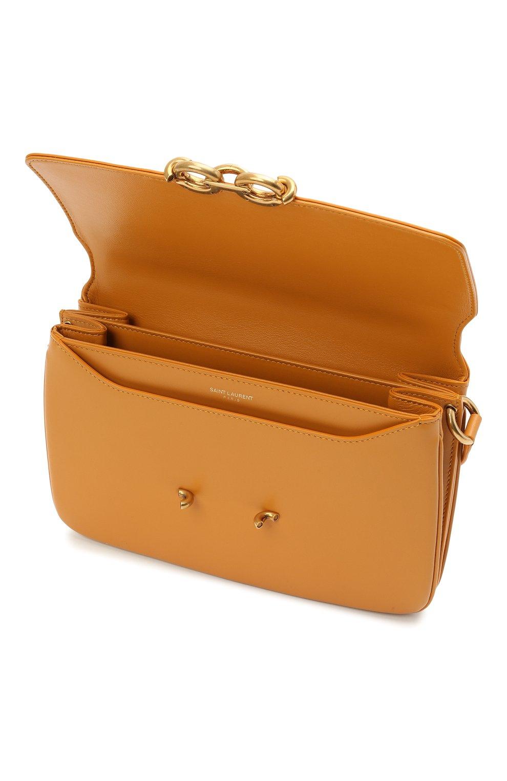 Женская сумка maillon SAINT LAURENT желтого цвета, арт. 649795/2R20W | Фото 4 (Сумки-технические: Сумки через плечо; Материал: Натуральная кожа; Ремень/цепочка: На ремешке; Размер: small)