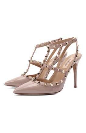 Женские кожаные туфли rockstud VALENTINO бежевого цвета, арт. VW0S0393/VNW | Фото 1 (Подошва: Плоская; Материал внутренний: Натуральная кожа)