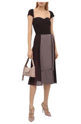 Женские кожаные туфли rockstud VALENTINO бежевого цвета, арт. VW0S0393/VNW | Фото 2 (Подошва: Плоская; Материал внутренний: Натуральная кожа)