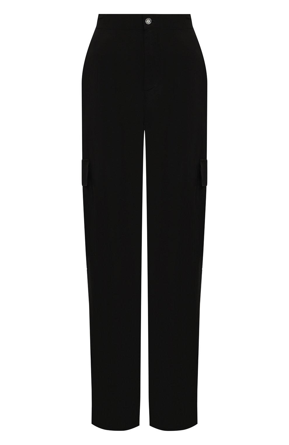 Женские брюки из вискозы 5PREVIEW черного цвета, арт. 5PW21103 | Фото 1 (Материал внешний: Купро, Вискоза; Длина (брюки, джинсы): Стандартные; Женское Кросс-КТ: Брюки-одежда; Силуэт Ж (брюки и джинсы): Прямые; Стили: Кэжуэл)