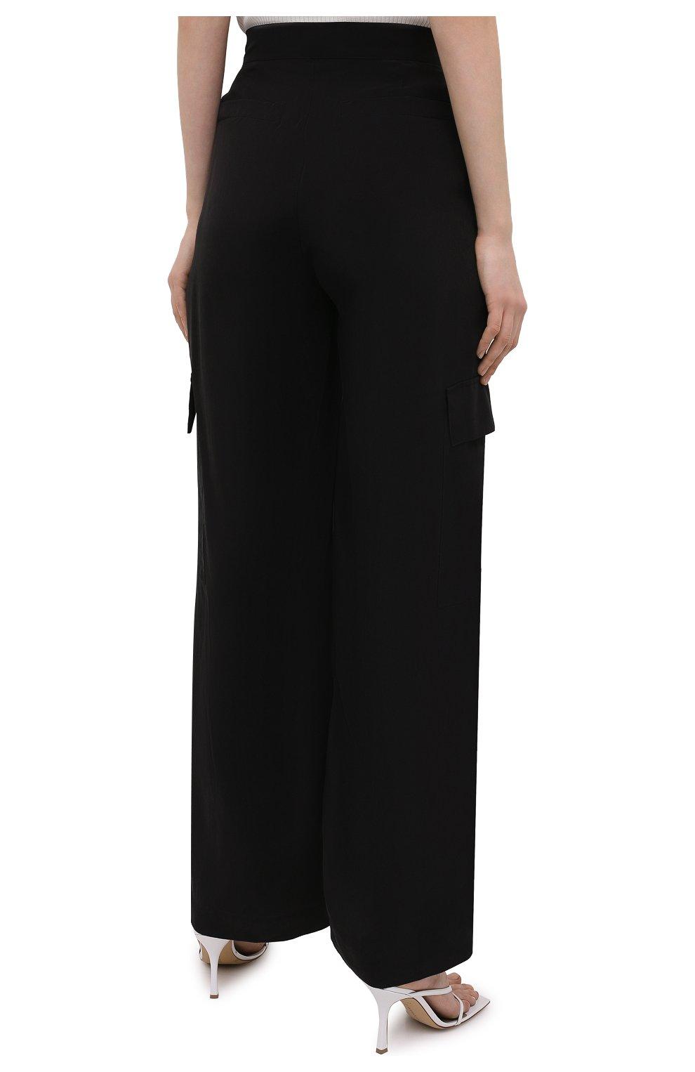 Женские брюки из вискозы 5PREVIEW черного цвета, арт. 5PW21103 | Фото 4 (Материал внешний: Купро, Вискоза; Длина (брюки, джинсы): Стандартные; Женское Кросс-КТ: Брюки-одежда; Силуэт Ж (брюки и джинсы): Прямые; Стили: Кэжуэл)