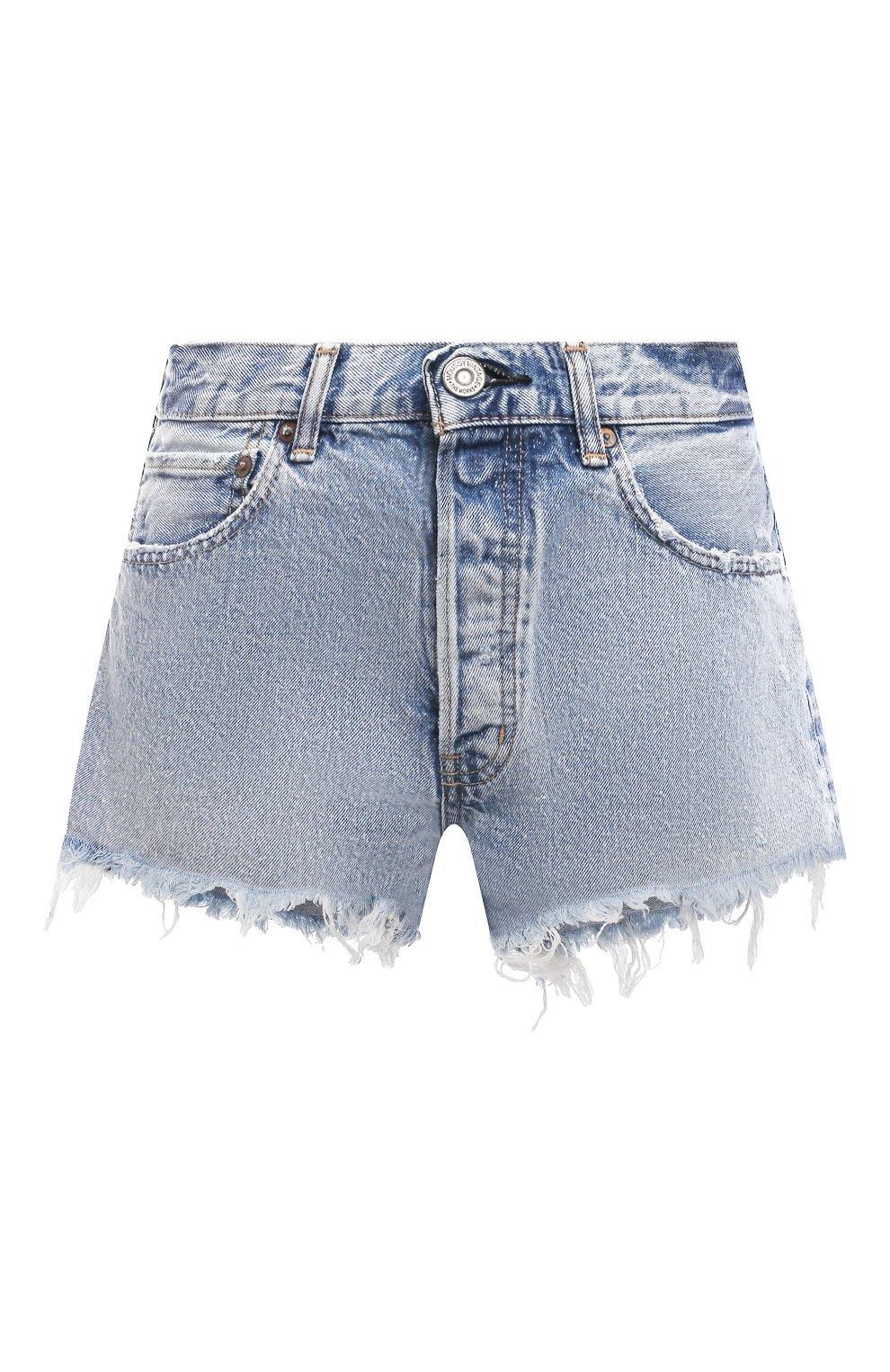 Женские джинсовые шорты MOUSSY голубого цвета, арт. 025ESC11-2670   Фото 1 (Женское Кросс-КТ: Шорты-одежда; Кросс-КТ: Деним; Длина Ж (юбки, платья, шорты): Мини; Стили: Гранж; Материал внешний: Хлопок)
