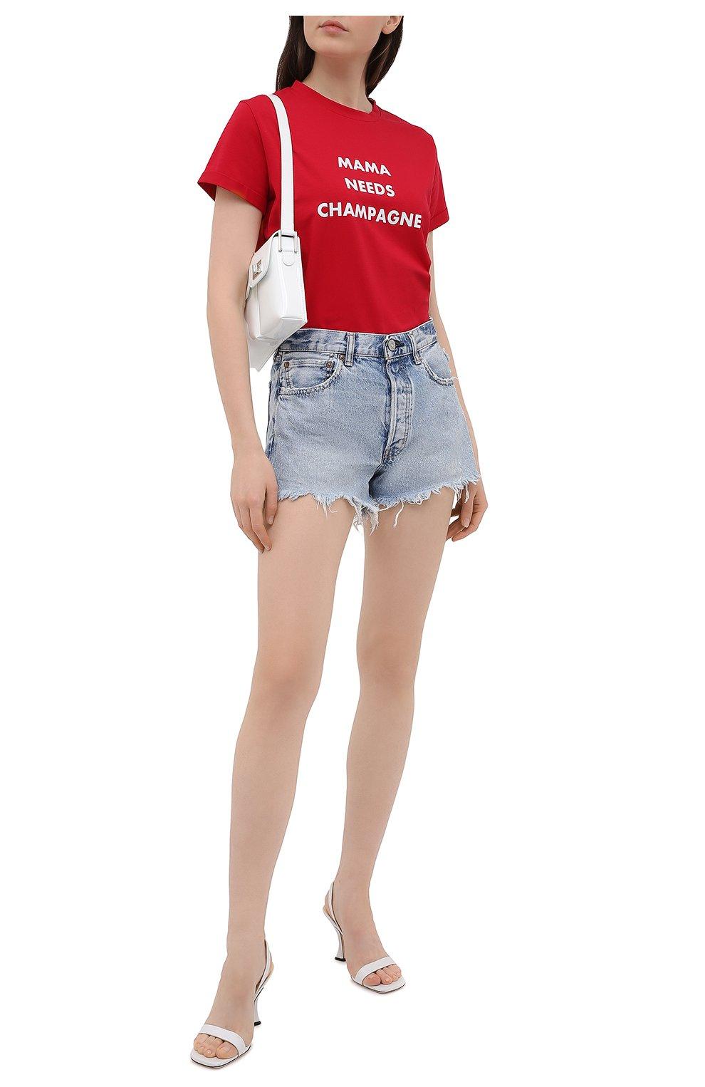 Женские джинсовые шорты MOUSSY голубого цвета, арт. 025ESC11-2670   Фото 2 (Женское Кросс-КТ: Шорты-одежда; Кросс-КТ: Деним; Длина Ж (юбки, платья, шорты): Мини; Стили: Гранж; Материал внешний: Хлопок)