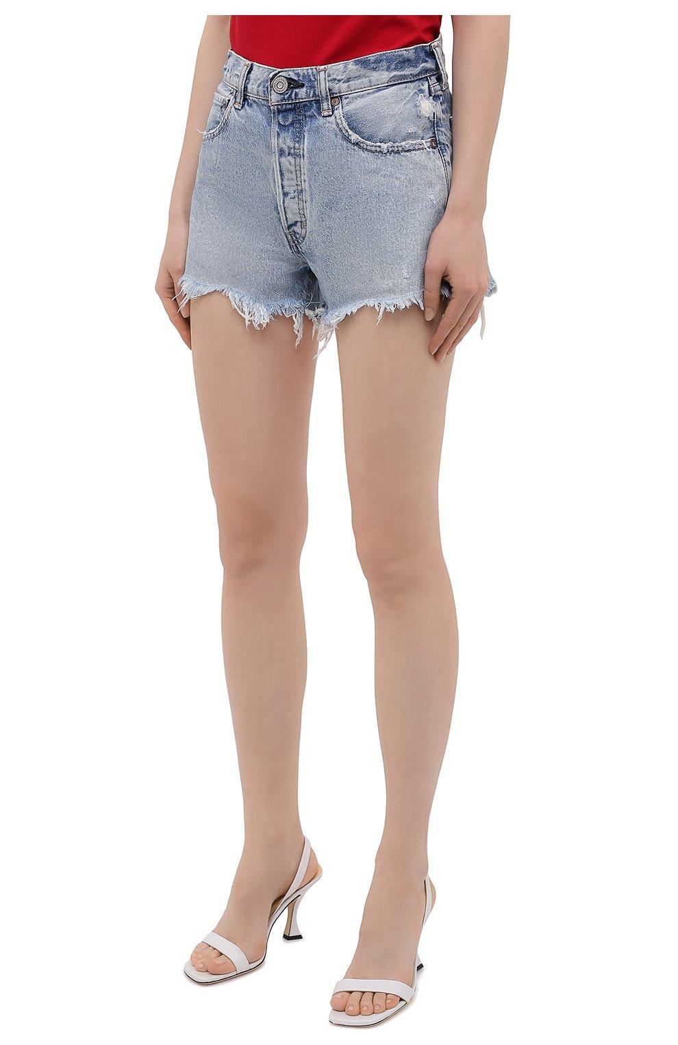 Женские джинсовые шорты MOUSSY голубого цвета, арт. 025ESC11-2670   Фото 3 (Женское Кросс-КТ: Шорты-одежда; Кросс-КТ: Деним; Длина Ж (юбки, платья, шорты): Мини; Стили: Гранж; Материал внешний: Хлопок)